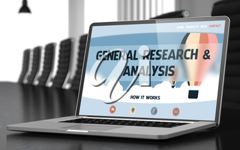 Laptop Display with General Research and Analysis Concept on Landing Page. Closeup View. Modern Meeting Hall Background. Toned Image. Blurred Background. 3D.