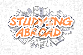 Studying Abroad - Sketch Business Illustration. Orange Hand Drawn Word Studying Abroad Surrounded by Stationery. Doodle Design Elements.