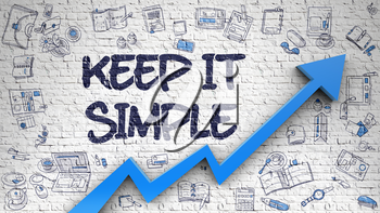 Keep IT Simple Inscription on the Modern Style Illustation. with Blue Arrow and Hand Drawn Icons Around. Keep IT Simple - Modern Style Illustration with Doodle Design Elements. 3d.