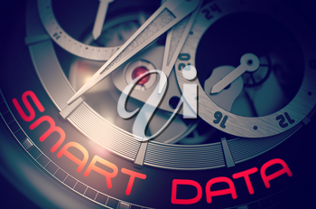 Smart Data on the Face of Mechanical Wrist Watch, Chronograph Closeup. Fashion Pocket Watch with Smart Data on the Face, Symbol of Time. Work Concept with Glow Effect and Lens Flare. 3D Rendering.