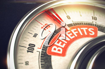 Benefits Rate Conceptual Balance with Caption on the Red Label. Business or Marketing Concept. 3D of a Rev Counter with Red Needle Pointing the Caption Benefits. Business Concept. 3D Render.