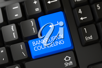 Bankruptcy Counseling Written on a Large Blue Keypad of a Black Keyboard. 3D Render.