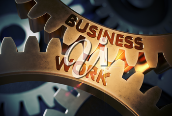 Business Work on the Mechanism of Golden Metallic Cogwheels with Lens Flare. Golden Metallic Cogwheels with Business Work Concept. 3D Rendering.
