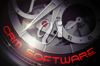 Gears and Mainspring in the Mechanism of a Pocket Watch with CRM Software on the Face of It. Men Wristwatch with CRM Software on Face, Symbol of Time. Work Concept with Lens Flare. 3D Rendering.