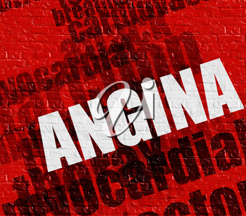 Medicine concept: Red Brickwall with Angina on it . Angina - on the Brick Wall with Wordcloud Around .