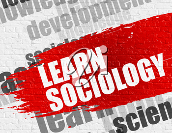 Education Service Concept: Learn Sociology on Brickwall Background with Wordcloud Around It. Learn Sociology Modern Style Illustration on the Red Distressed Brush Stroke.