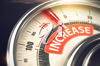 Speed Meter with Red Needle Pointing the Message Increase on Red Label. Increase - Red Label on Conceptual Meter with Needle. Business Mode Concept. 3D Render.