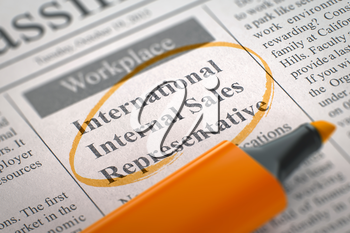 International Internal Sales Representative - Classified Advertisement of Hiring in Newspaper, Circled with a Orange Highlighter. Blurred Image with Selective focus. Job Seeking Concept. 3D Rendering.