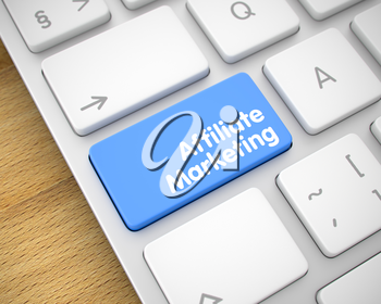 Affiliate Marketing Key on the Computer Keyboard. Online Service Concept with Modern Enter Blue Keypad on the Keyboard: Affiliate Marketing. 3D Illustration.