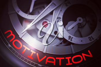 Luxury Wrist Watch with Motivation Inscription on Face. Luxury Men Pocket Watch Machinery Macro Detail with Inscription Motivation. Time and Work Concept with Glowing Light Effect. 3D Rendering.