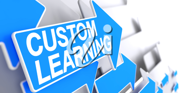 Custom Learning - Blue Arrow with a Message Indicates the Direction of Movement. Custom Learning, Inscription on Blue Pointer. 3D Illustration.