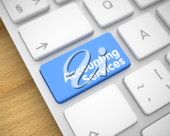 Online Service Concept with Slim Aluminum Enter Blue Button on the Keyboard: Accounting Services. A Keyboard with a Blue Key - Accounting Services. 3D.
