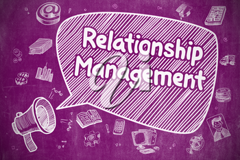 Relationship Management on Speech Bubble. Doodle Illustration of Yelling Megaphone. Advertising Concept.
