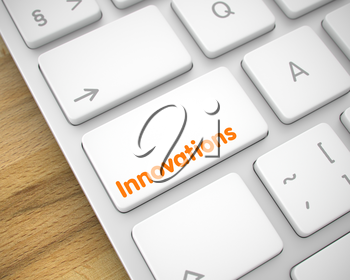 Business Concept with White Enter White Keypad on Keyboard: Innovations. Modern Keyboard Keypad Showing the Inscription Innovations. Message on Keyboard White Keypad. 3D Render.
