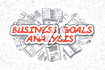 Cartoon Illustration of Business Goals Analysis, Surrounded by Stationery. Business Concept for Web Banners, Printed Materials.