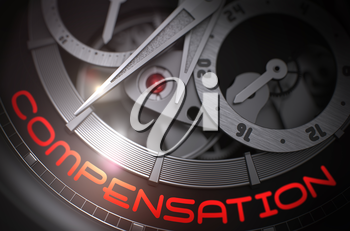 Luxury Watch Machinery Macro Detail with Inscription Compensation. Compensation on Face of Fashion Wristwatch Machinery Macro Detail Monochrome. Work Concept with Glowing Light Effect. 3D Rendering.