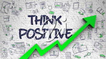 Think Positive Inscription on the Line Style Illustation. with Green Arrow and Doodle Design Icons Around. White Brickwall with Think Positive Inscription and Green Arrow. Success Concept.
