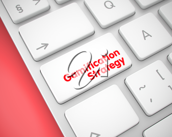 Computer Keyboard with Gamification Strategy White Button. Modern Laptop Keyboard Button Showing the TextGamification Strategy. Message on Keyboard White Key. 3D.