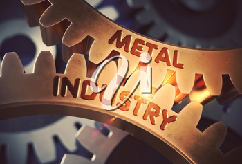 Metal Industry Golden Gears. Metal Industry - Illustration with Glow Effect and Lens Flare. 3D Rendering.