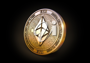 Ethereum ETH - Cryptocurrency Coin on Black Background. 3D rendering