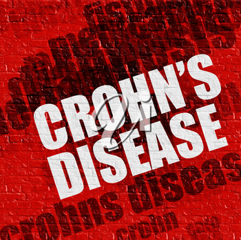 Health concept: Crohns Disease - on the Brick Wall with Word Cloud Around . Crohns Disease on the Red Brick Wall .