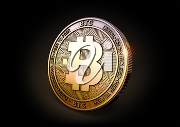 Bitcoin BTC - Cryptocurrency Coin on Black Background. 3D rendering