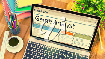 Game Analyst - Job Searching Concept. Hiring Concept. 3D Render.