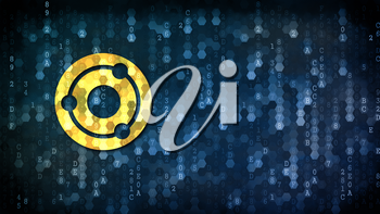 Ion - Web Icon on Digital Background. Crypto Currency Concept.