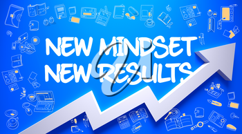 New Mindset New Results Drawn on Blue Wall. Illustration with Doodle Design Icons. New Mindset New Results - Enhancement Concept. Inscription on the Azure Wall with Doodle Icons Around.