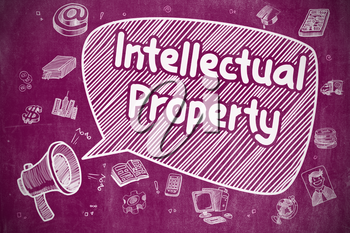 Business Concept. Megaphone with Phrase Intellectual Property. Doodle Illustration on Purple Chalkboard.