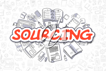 Sourcing - Sketch Business Illustration. Red Hand Drawn Word Sourcing Surrounded by Stationery. Cartoon Design Elements.