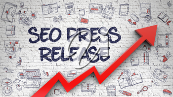 SEO Press Release - Enhancement Concept. Inscription on the Brick Wall with Doodle Icons Around. SEO Press Release on the Modern Illustation with Red Arrow and Hand Drawn Icons Around. 3D.