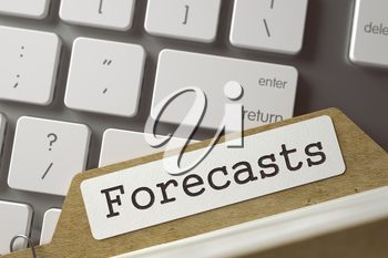 Forecasts Concept. Word on Folder Register of Card Index. Index Card Lays on Modern Laptop Keyboard. Closeup View. Selective Focus. Toned Illustration. 3D Rendering.