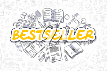 Bestseller Doodle Illustration of Yellow Word and Stationery Surrounded by Cartoon Icons. Business Concept for Web Banners and Printed Materials.