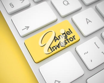 Service Concept with Modern Computer Enter Yellow Keypad on the Keyboard: Angel Investor. Angel Investor Written on the Yellow Key of Modern Computer Keyboard. 3D Render.