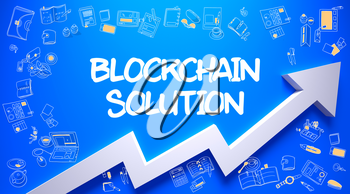 Azure Wall with Blockchain Solution Inscription and White Arrow. Success Concept. Blockchain Solution - Development Concept with Doodle Design Icons Around on Blue Surface Background.