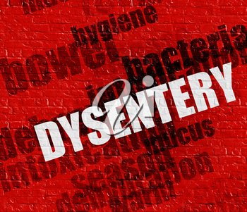 Modern healthcare concept: Dysentery - on Wall with Word Cloud Around . Red Brickwall with Dysentery on the it .