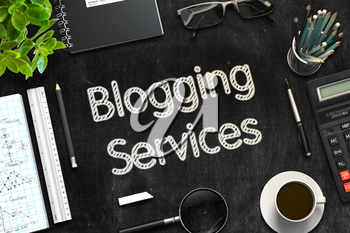 Blogging Services. Business Concept Handwritten on Black Chalkboard. Top View Composition with Chalkboard and Office Supplies. 3d Rendering. Toned Image.