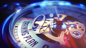 Watch Face with Training Plan Text on it. Business Concept with Lens Flare Effect. Training Plan. on Watch Face with Close View of Watch Mechanism. Time Concept. Lens Flare Effect. 3D.