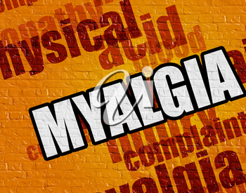 Healthcare concept: Myalgia on the Yellow Brick Wall . Myalgia - on the Brickwall with Wordcloud Around .