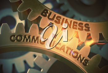 Golden Cogwheels with Business Communications Concept. Business Communicationson Golden Metallic Gears. 3D Rendering.