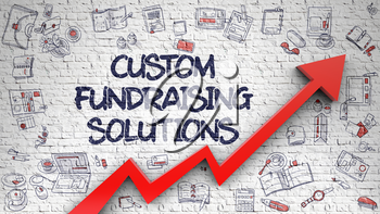 Custom Fundraising Solutions - Success Concept with Doodle Icons Around on White Wall Background. Custom Fundraising Solutions Drawn on White Wall. Illustration with Doodle Design Icons. 3d