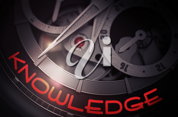Old Watch Machinery Macro Detail and Inscription - Knowledge. Knowledge - Black and White Closeup of Watch Mechanism. Business and Work Concept with Glowing Light Effect. 3D Rendering.