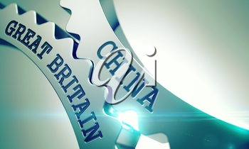 China Great Britain on the Mechanism of Metal Cog Gears. Interaction Concept in Technical Design. China Great Britain - Illustration with Lens Effect. 3D .