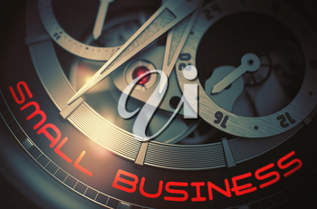 Men Wrist Watch with Small Business on Face, Symbol of Time. Vintage Watch Machinery Macro Detail with Inscription Small Business. Time and Business Concept with Lens Flare. 3D Rendering.