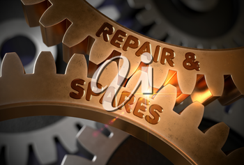 Golden Cog Gears with Repair And Spares Concept. Repair And Spares - Industrial Illustration with Glow Effect and Lens Flare. 3D Rendering.