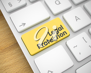 Legal Protection Written on Yellow Keypad of Modernized Keyboard. Online Service Concept with Aluminum Enter Yellow Button on the Keyboard: Legal Protection. 3D Illustration.