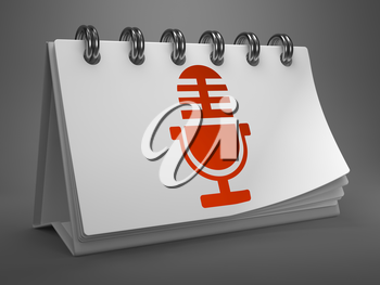 Red Microphone Icon on White Desktop Calendar Isolated on Gray Background. Mass Media Concept.