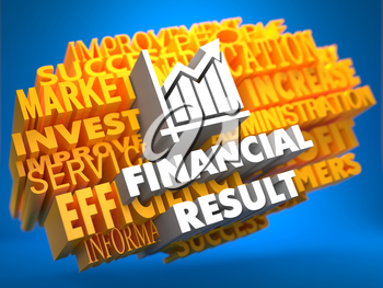 Financial Result with Growth Chart Icon on Yellow WordCloud on Blue Background.
