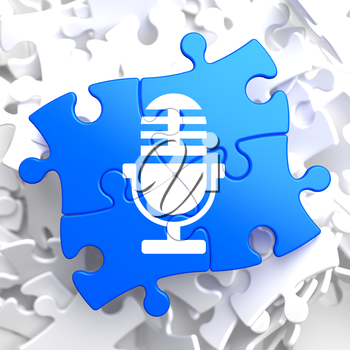 Microphone Icon on Blue Puzzle. Sound Concept.